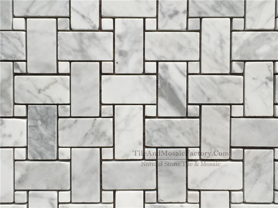 Bianco Carrara Basketweave Polished White Marble Mosaic