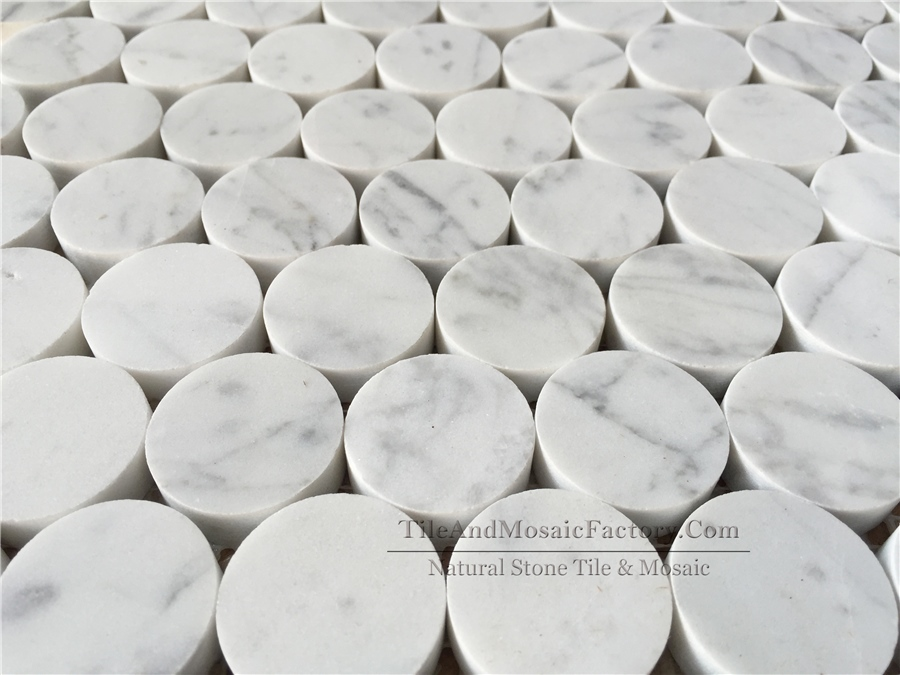 Bianco Carrara Round 3cm Polished White Marble Mosaic
